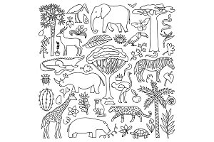 Africa Nature Set + Seamless Pattern