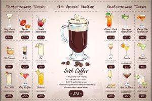 Drawing horisontal cocktail menu