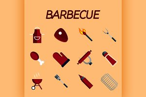 Barbecue flat icon set