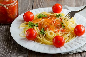 Pasta, tomato, closeup.