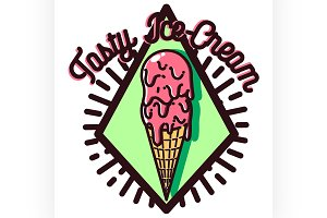 Color vintage Ice Cream emblem