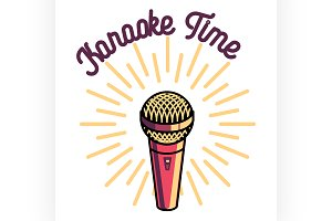 Color vintage karaoke emblems