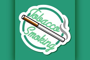 Color vintage smoking emblem