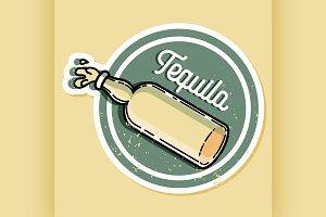 Color vintage tequila emblem