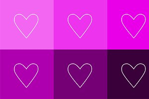 Heart icons set flat design outlines