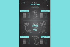 vertical cocktail menu design