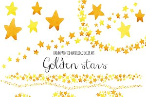 Watercolor gold stars clip art