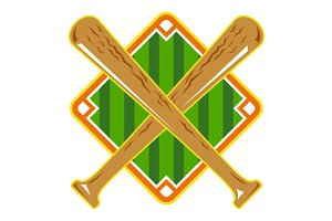 Baseball Diamond Crossed Bat Retro