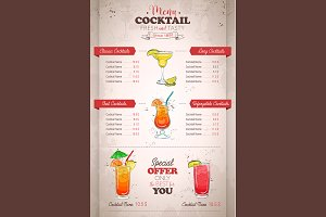 vertical color cocktail menu design