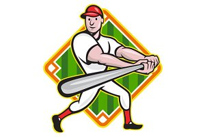 Baseball Player Batting Diamond
