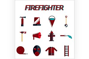 firefighter flat icon set