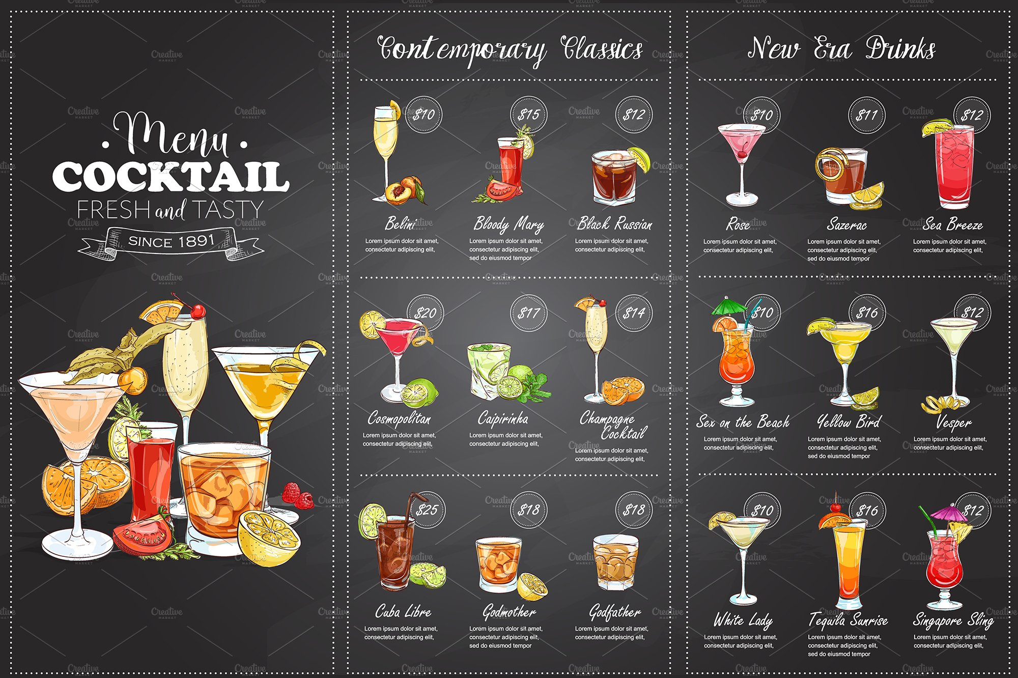 Drawing horisontal cocktail menu illustrations