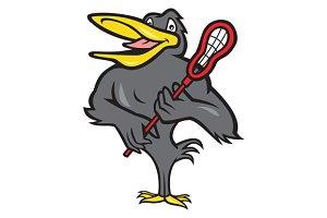 Blackbird With Lacrosse Stick Cartoo