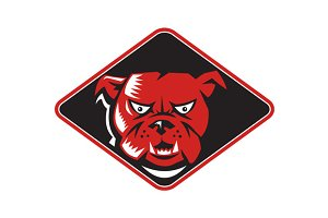 Angry Bulldog Head Front Retro