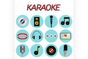 Karaoke flat icon set