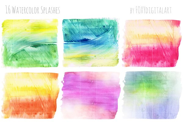 Watercolor Splotches Shapes Brushes…
