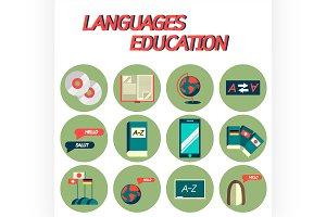 Languages education flat icon set