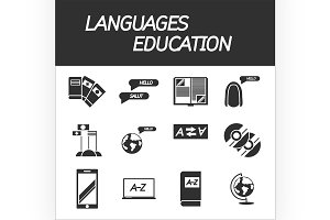 Languages education icon set