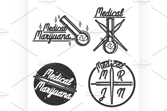 Vintage medical marijuana emblems