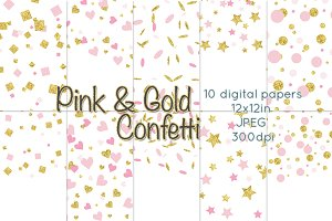 Pink and Gold Confetti Digital Paper