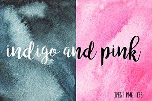 indigo and pink