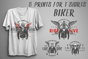 Set of prints for T-Shirts Biker