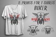 Set of prints for T-Shirts Biker