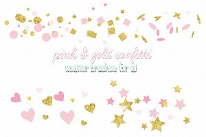 pink & gold confetti scatter brushes