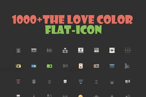 1000 The love color flat icon