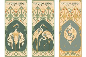 vintage labels: fish and stork