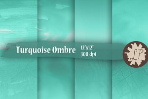 Turquoise Watercolor Ombre Papers