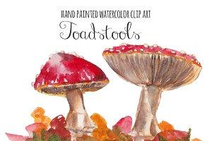 Toadstools watercolor clip art