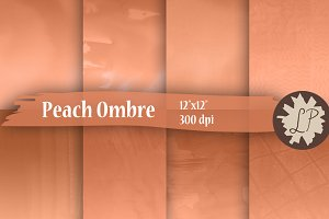 Peach Watercolour Ombre Paper Pack