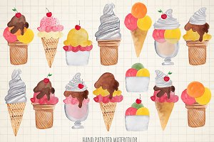 Watercolor ice cream cones clipart