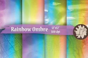 Rainbow Ombre Watercolour Papers