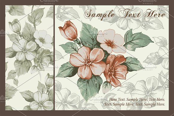 Set. Flowers Apple. Greeting card. - Illustrations