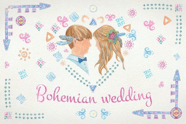 Watercolor Bohemian wedding