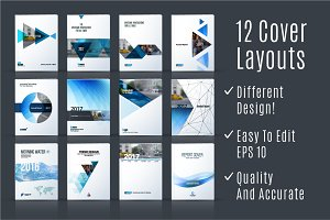 12 Cover Design Templates in Vector
