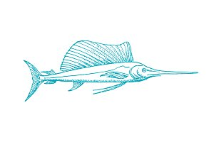 Vector Swordfish Pen Illustration