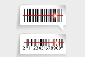Barcode label set with laser scan