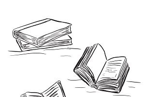 books in sketch style, vector