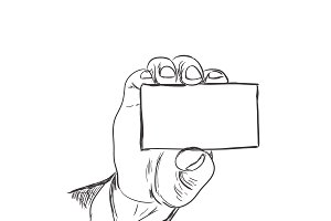 hand holding business card, sketch