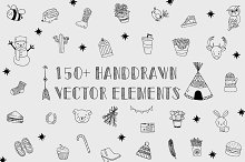 150+Handdrawn Vector Design Elements