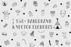150+Handdrawn Vector Design Elements