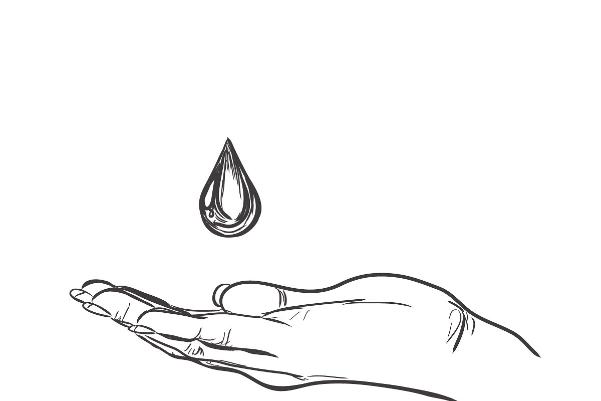 Hand with drop of water