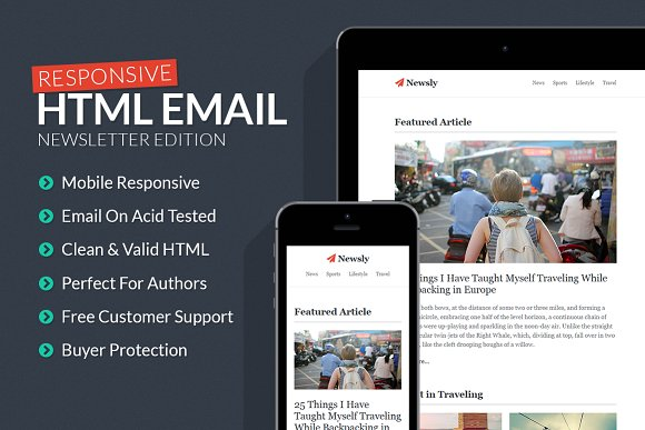Newsletter Responsive Email Template Htmlcss Themes Creative Market