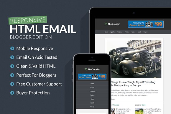 Blogger Responsive Email Template Htmlcss Themes Creative Market