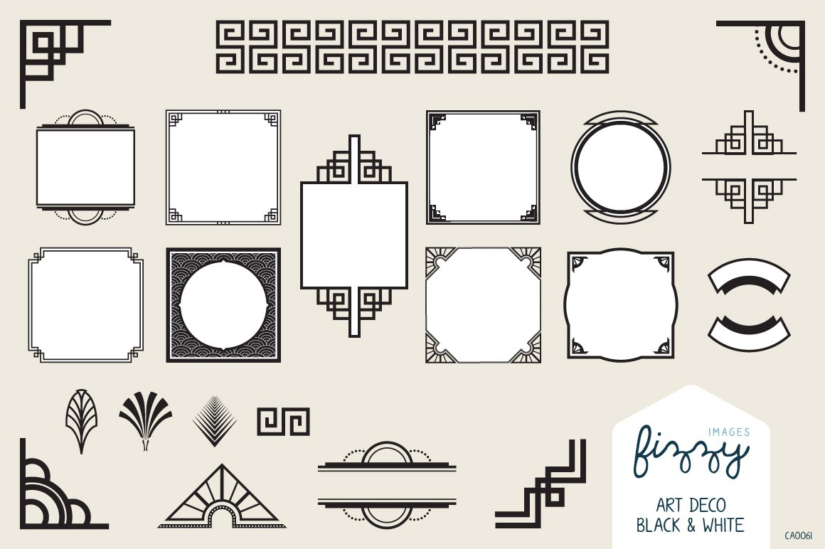 25 x art deco black vector elements illustrations - Art deco design elements ...