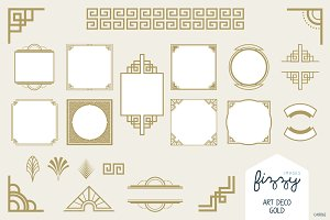 25 x Art Deco Gold Vector Elements