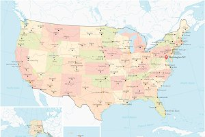 Map United States of America - Color